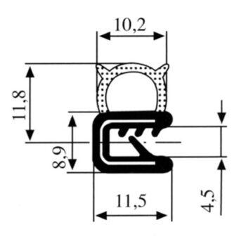 Zelfklemmend u profiel  1-3mm spons aan  zijkant DG2118013 E