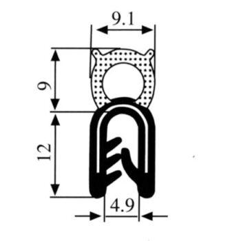 Zelfklemmend u profiel  1-3mm  spons aan bovenzijde DG211901