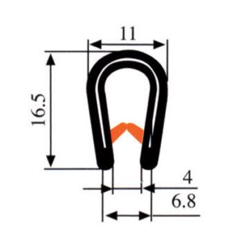 Zelfklemmend u profiel klembereik 6-8mm DG2005068 E