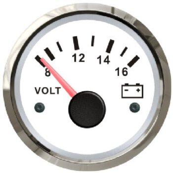 FES Marine voltmeter 12volt wit-RVS SF-D